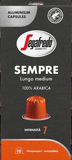 Segaferdo – aluminium capsules - Sempre - 100% Arabica – Lungo medium